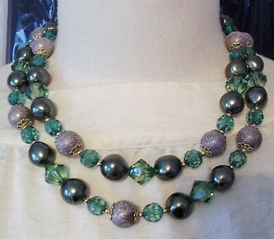 Double Strand Necklace Green Gray Beads