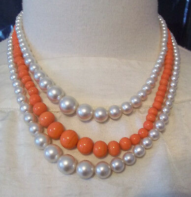 Vintage Triple Strand Glass Faux Pearl and Orange Bead Graduated Necklace Japan.