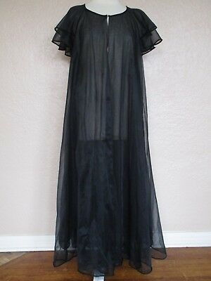 Vintage Val Mode Robe Peignoir M Women black double layer chiffon full sweep