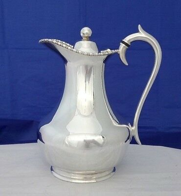 VTG Silver Plate Lidded Ewer or Water Jug with Silver Plate Spurred Handle VGC