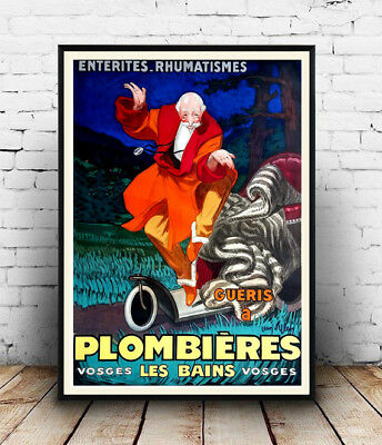 Plombieres : Vintage  Advertising, Wall art , poster, Reproduction.