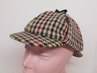 The Scotch House Vtg Boys Wool Deerstalker Hunting Tweed Check Hat Cap Ear Flaps