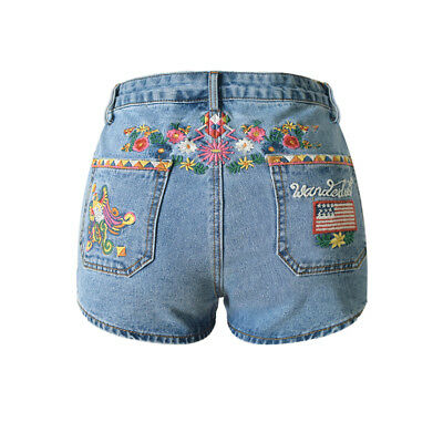 Spell Gypsy Replica Floral Wanderlust Embroidered Love Child Denim Shorts