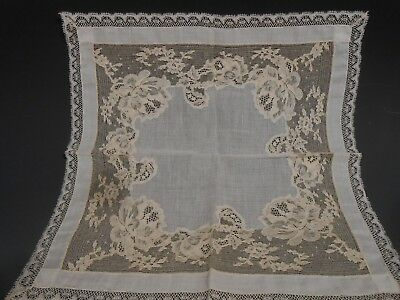 Vintage Fine Swiss Cotton Ecru Lace Handkerchief Wedding Hankie ca. 20th c.