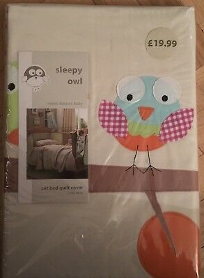 Sleepy Owl Cot Bed Quilt Cover And Pillow (Dunelm) *BRAND NEW*