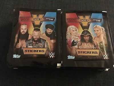 100 x NEW WWE Raw v NXT v Smackdown Live Sticker Stickers Packs / Packets TOPPS