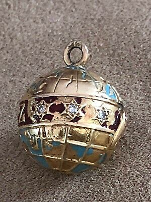 14 K Yellow Gold and Diamond Vintage Schlitz Globe Charm from 1960's
