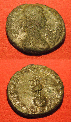 Constans AE3, 337-350 AD, 2.61g, 16mm, Trier mint, Phoenix on rock reverse.