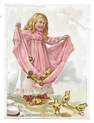 Rare Lion Coffee Easter Greeting Victorian Trade Card Girl W/ Peeps Eggs