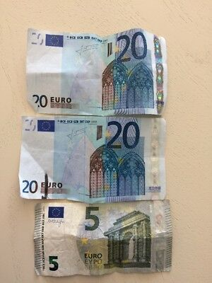 Two  20 Euro Bills And One 5 Euro Bill  Left Over From Recent Trip