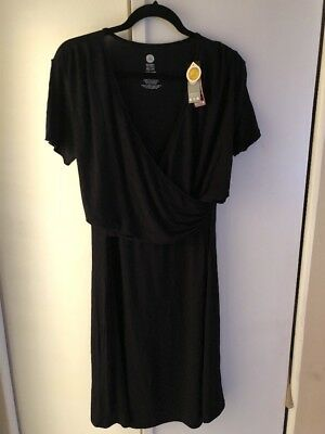 Kindred Bravely Angelina Ultra Soft Nursing Maternity Nightgown Dress Black XXL