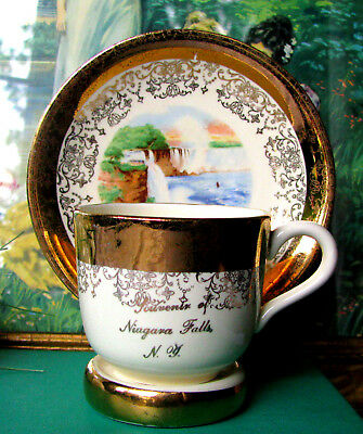 Sabin Crest O Gold Niagara Falls NY Demitasse Cup and Saucer and Display Stand