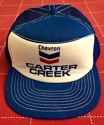 Vintage Chevron Gas Station Foam Trucker Hat Snapback Blue White Mesh