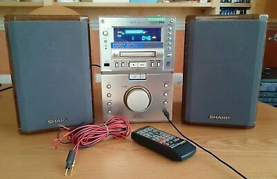 Sharp Md-M3 Micro System, Minidisc Cd And Tuner With Speakers & Remote Control
