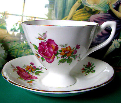 Giftcraft English Bone China Large Pink Rose Pedestal Teacup and Saucer, England