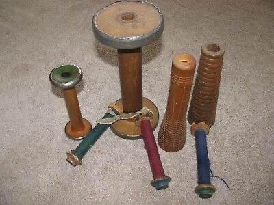 LOT OF 7 Vintage Wooden Industrial Spools Large and Small NICE