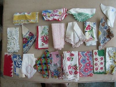 Lot of 20 Vintage Misc. Floral, Etc. Hankerchiefs - All in Very Good Cond.