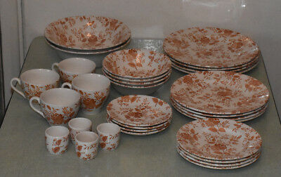 Vintage English Ironstone Tableware, Floral pattern, 4 place settings