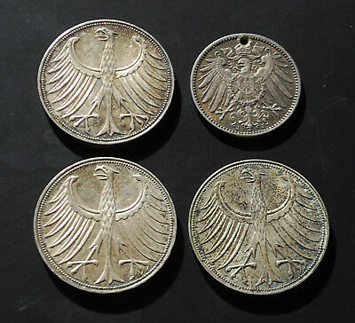 GERMANY Lot of 4 Silver Coins - Three 5 Mark Coins & One Mark Coin