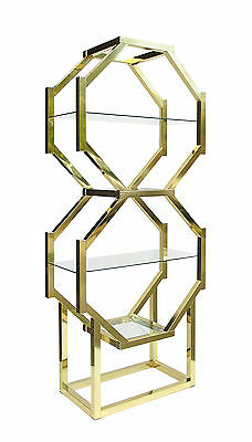 Vintage Baughman Style Geometric Stacked Octagonal Brass & Glass Etagere 70's