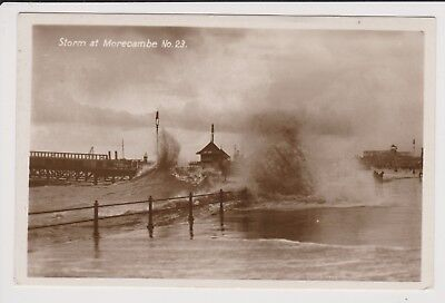 Real Photo Postcard Storm at Morecambe , Lancs. No 23 , posted 1929, Lovely Card