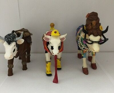 Cow Parade Lot of 3 Diary Crockett, Udder Cowstruction, Beehive Bovin- Retired