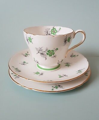 "Vintage Shelley England "" Charm "" Breakfast Cup Trio 13752 Green bone china"
