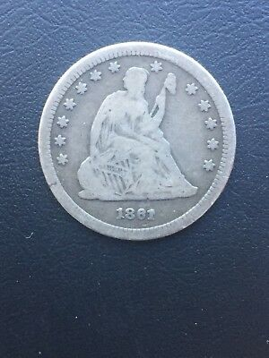 1861 Silver Liberty Seated Quarter Dollar VG Plus