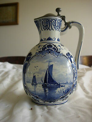 Vintage Antique Delft Syrup Pitcher with Pewter Lid Signed Hand Painted