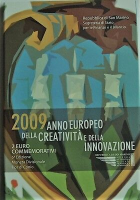 Rare Coffret 2€ Commemorative  Officiel San Marin 2009 Bu Della Creativite