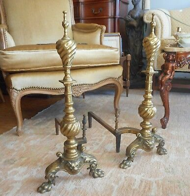 Pair of Vtg 1930s Victorian Revival Brass Fireplace Andirons Lion Head Claw Feet