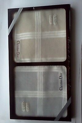 Vintage 2 Fine Men's Swiss All Cotton Rolled Handkerchiefs Christian Dior/In Box