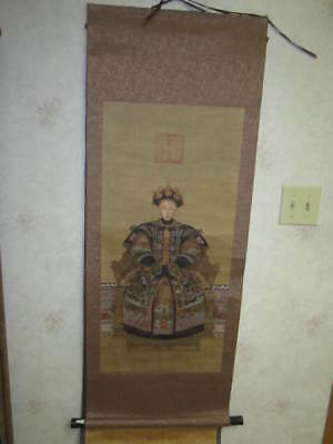 Antique Chinese Matriarch Ancestor Hand Painted Hanging Scroll Silk And Paper