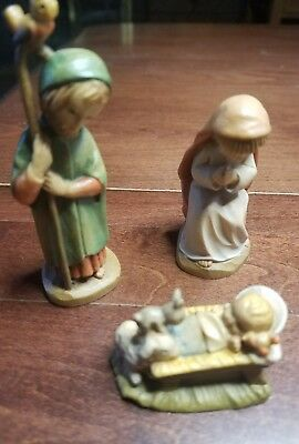 "Anri Ferrandiz 3"" Holy Family Nativity Woodcarvings (Joseph, Mary, Jesus)"