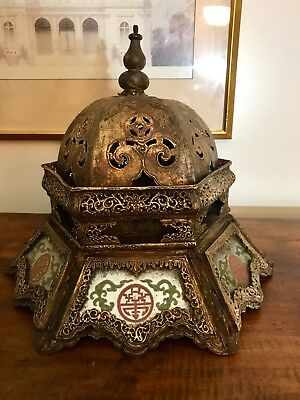 Antique Asian Light Shade, Wood, Glass, Carved Manilla Mache 1800s Handcrafted
