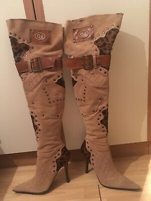 Suede Leather Over Knee Thigh High Boots River Island El Dantes Size 5 38 £250