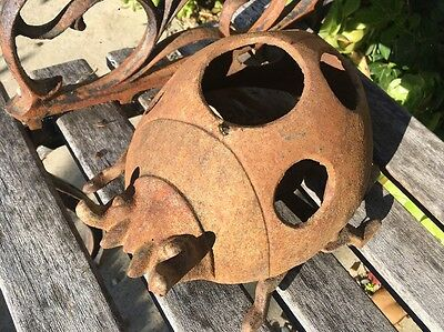 Vintage Iron Lantern Insect Shape Japan Rusty Figure Statue lady bug light rare