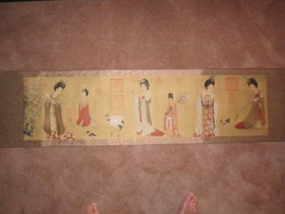 Rare Chinese Japanese Hand Painted Silk And Paper Long Horizontal Wall Scroll