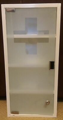 Medical First Aid Cabinet White Steel With Glass Front