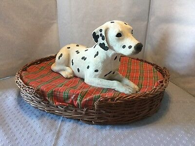 Sandicast Dalmatian 10 inch sculpture 1990 with wicker dog bed