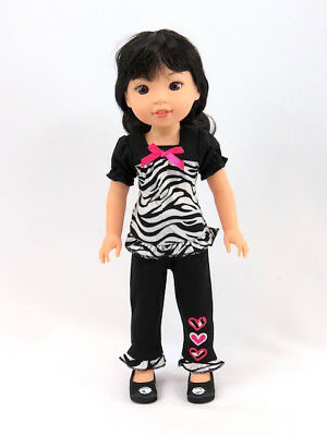 """Zebra Sequin Heart Pant Set Fits 14.5/""""  Wellie Wisher American Girl Clothes"""