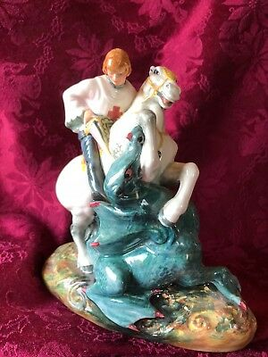 Royal Doulton Porcelain St. George Slaying the Dragon Figure HN 2051