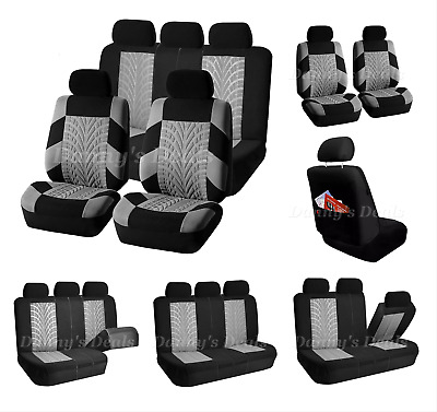 Black Grey Trax Car Seat Covers Cover Set For Toyota Yaris 5DR 2006 - 2011