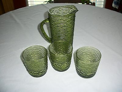 Vintage Antique Green Glass Pitcher and 3 Cup 4 pc Set