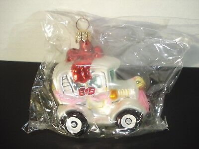 """CHRISTOPHER RADKO CHRIST.ORNAMENT,RED RIBBON WRAPPED CAR,""""Just Married""""MINT,Box"""