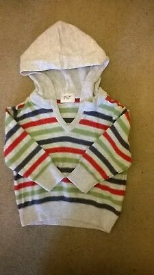 F & F Grey Striped Hooded Jumper Age 3-6 Months