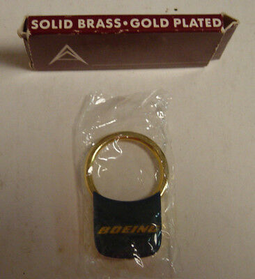 NOS Boeing Key Ring Solid Brass Gold Plated New NIB Vtg Blue Airplane Aerospace
