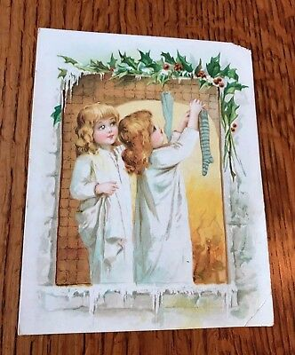 Antique Lion Coffee Christmas Victorian Trade Card Girls STOCKINGS Woolson Spice