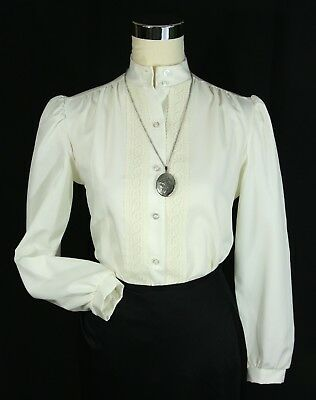 VINTAGE Jane Holly Cream Off White Blouse Top w/ Lace Trim - Sz 8 Med