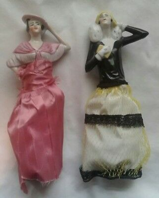 2 Antique Victorian Bust Lady Brush Figurine Hand Painted Porcelain Numbered